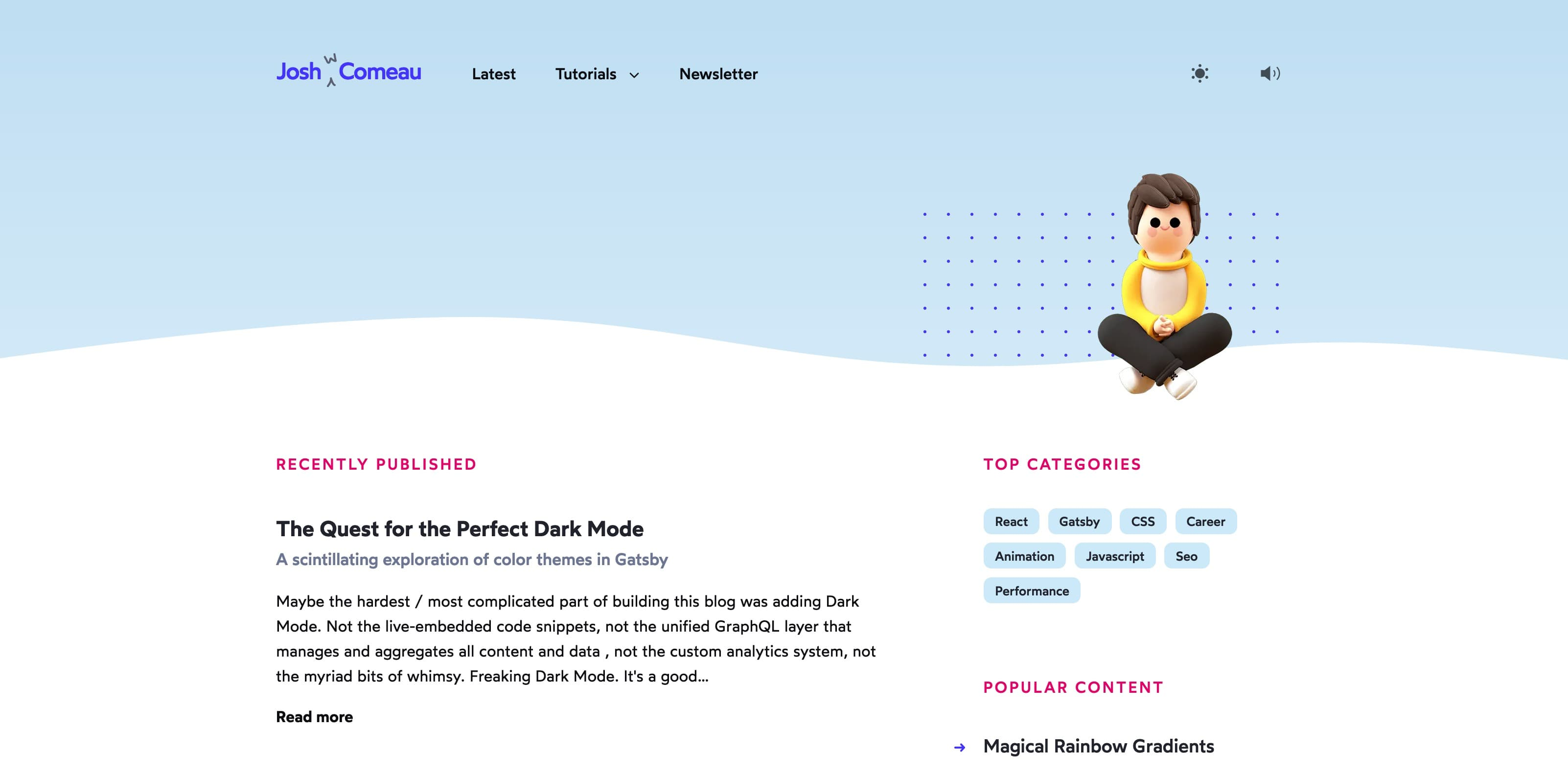 Josh's stunning homepage which features a 3D model of himself that looks a bit like a clay model