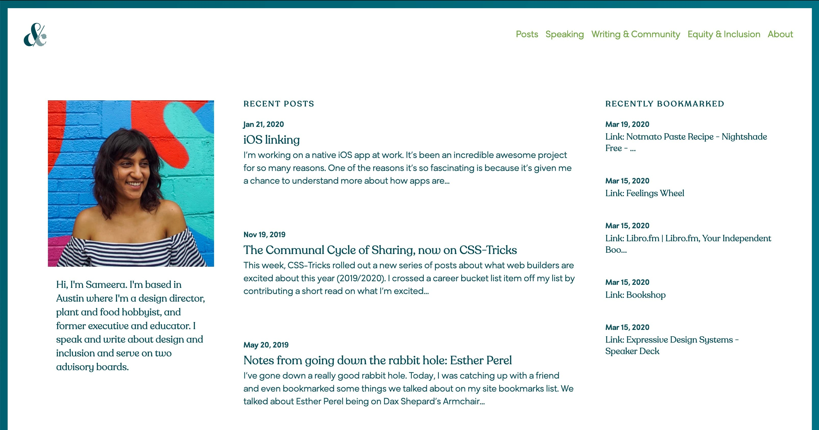 Sameera's homepage with a very clean, traditional 3 column layout